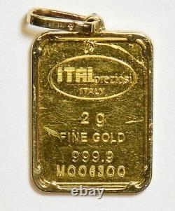 Italy 1990 s 2 gram gold bar plus 14K clasp pendant gold 3grams total weight GL0