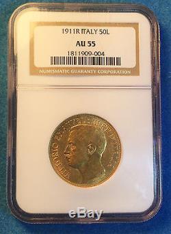 Italy, 50 Lira Gold. 1911R, 50th Anniversary of Kingdom