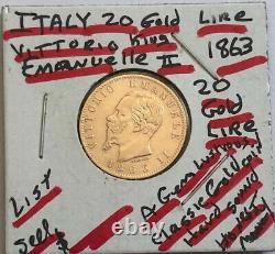 Italy A Gem Lustrous Classic Old 1863 20 Lire-near Gold Value King Emanuele II