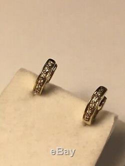 Italy Designer FB 585 Yellow Gold Diamond small hoop earrings pre- Roberto Coin