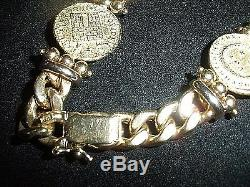 Italy- Designs 14K With 3 Venitian Coins Bracelet Solid Gold 28.6 g Heavy