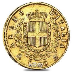 Italy Gold 20 Lire Coin Random Year Average Circulated