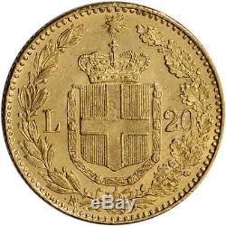 Italy Gold 20 Lire Umberto (. 1867 oz) XF/AU Random Date