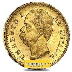 Italy Gold 20 Lire Umberto I Avg Circ (Random Year, 1879-1897)