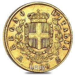 Italy Gold 20 Lire Vittorio Emanuele II Avg Circ (Random Year, 1861-1878)