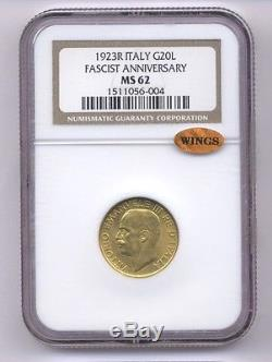 Italy Kingdom 1923-r 20 Lire Uncirculated Gold Coin, Ngc Certified Ms62-wings