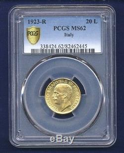 Italy Kingdom 1923-r 20 Lire Uncirculated Gold Coin, Pcgs Certified Ms62