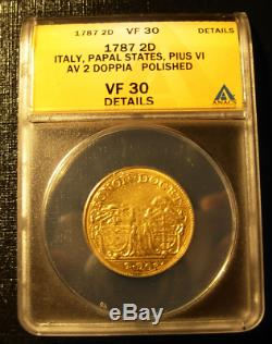 Italy Papal States 1787 Gold 2 Doppia ANACS VF-30 Details Pius VI