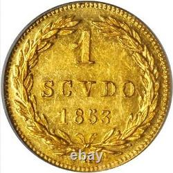 Italy Papal States 1853-r 1 Scudo Gold Coin Uncirculated, Certified Pcgs Ms-62