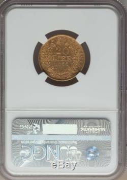 Italy Papal States 1866 20 Lire Gold Coin Almost Uncirculated Certified Ngc Au58