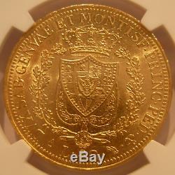 Italy Sardinia 1825 L Eagle Gold 80 Lire NGC AU-58 Carlo Felice