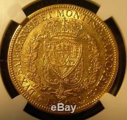 Italy Sardinia 1828 P Anchor Gold 80 Lire NGC AU-58 Carlo Felice