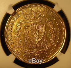 Italy Sardinia 1829 P Anchor Gold 80 Lire NGC AU-55 Carlo Felice