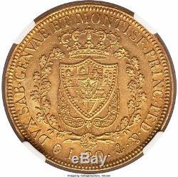 Italy Sardinia 1829 anchor P gold 80 lire NGC AU -50
