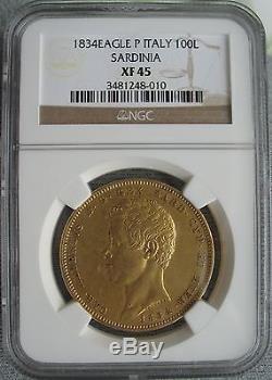 Italy-Sardinia 1834 EAGLE P Gold 100 Lire NGC XF-45