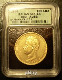 Italy Sardinia 1836 P Anchor Gold 100 Lire ICG AU-53 Carlo Alberto Mintage 703
