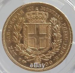 Italy Sardinia Eagle 100 Lira Gold Coin Rare Mint Cond 1834 PCGS AU58 #0014