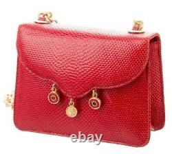 Judith Leiber Karung snakeSkin Shoulder Crossbody Bag Mini Red Coin Gold Vintage