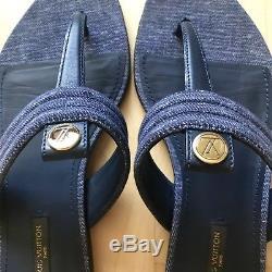 LOUIS VUITTON CORAL WAY THONG SANDALS 39 $715 Blue Denim Gold Coin