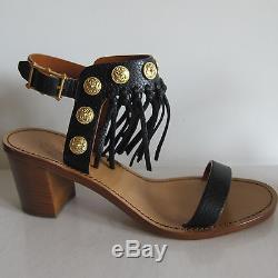 L-3756169 New Valentino Black Fringe Strap WithGold Coins Sandals US-6/Marked-36