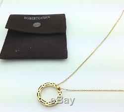 Ladies Designer Roberto Coin Pois Moi 18K Yellow Gold Pendant Necklace