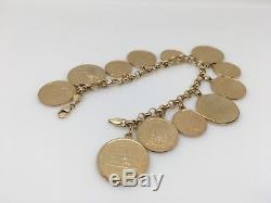 MILOR Italy 14k yellow gold Link chain COIN charm bracelet