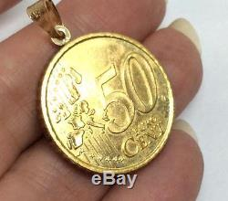 MILOR SOLID 14K GOLD Necklace Pendant Italy 50 Buro Cent Euro coin 20008 grQVC