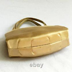 Manolo Blahnik Small Satin Evening Bag in Champagne With Coin Purse