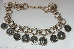 Marcello Fontana Marked 925 Ancient Coins Necklace Gold Tone Over Sterling 19