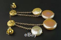 Marco Bicego Jaipur 18K Yellow Gold Coin Pearl Double Drop Earrings Italy