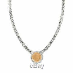 Mia Fiore Genuine LIRA COIN Gold 925 Sterling Silver Wide Necklace MADE in ITALY