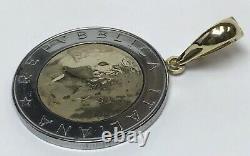 Milor 14K Yellow Gold Bezel 1982 500 Lire Coin Pendant Unisex Italian Italy