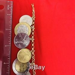 Milor 14k yellow gold lire italian coin rolo charm bracelet 7.5