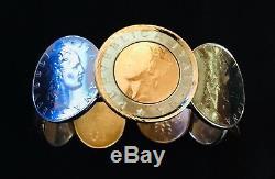 Milor 14kt Gold Bezel Italian Coin Hinged Cuff Bracelet. 7 1/2 (1072)