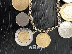 Milor Italy 14K Solid Yellow Gold Rolo Link Italian Coin Charm Bracelet 8