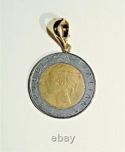 Milor Italy 500 Lire 1984 Coin 14k Yellow Gold Bail Pendant Italian