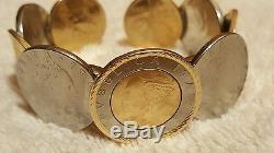 Milor Italy Italian lira coin cuff bracelet 14K gold bezel