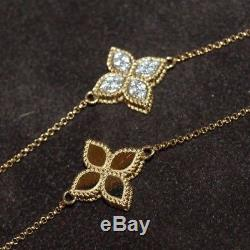 Mint Roberto Coin PRINCESS FLOWER NECKLACE 18K Gold, 36 Pave Diamond MUST SEE