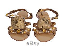 NEW $1200 DOLCE & GABBANA Shoes Gold Snakeskin Roman Coin Crystal EU39 / US8.5