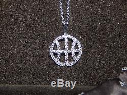 NEW 18K WHITE GOLD ROBERTO COIN Diamond Basketball Necklace