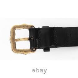 NEW $995 GUCCI Black Leather Age Gold BEE FELINE SNAKE COIN Logo CHOKER NECKLACE