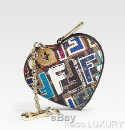 NEW FENDI Zucca Graffiti Heart Key Chains Keyring Coins Purse Phone Gold Charms
