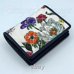 NEW GUCCI Trapuntata Interlocking G Horsebit Flora Print Card Case Wallet Authen