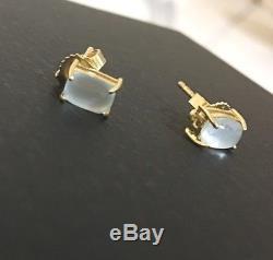 NEW ROBERTO COIN Shanghai 18K Gold &Blue Topaz Small Stud Earrings