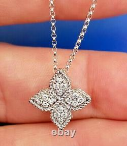 NEW Roberto Coin Princess Flower Diamond 18K White Gold Necklace w Box