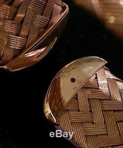 NWT $1430 ROBERTO COIN 5th Season Rose Gold Plated. 925 Silver Hollow Woven Cuff