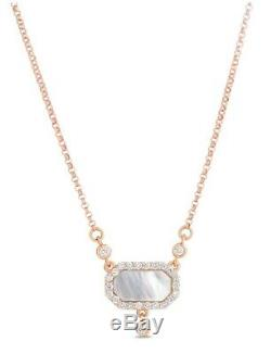 NWT $1750 Roberto Coin 18K RoseGold Art Deco Mother Of Pearl & Diamond Necklace