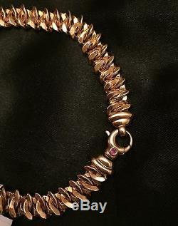 NWT $1780 ROBERTO COIN 18K Rose Gold Intricate Chain 7.5L Bracelet + Box RARE