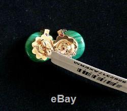 NWT $1950 ROBERTO COIN 18K Rose Gold, Green Malachite & 0.16ct Diamond Earrings