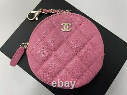 NWT 21P Chanel Classic Zipped Coin Purse Bag Charm Wallet Pink Caviar with Gold